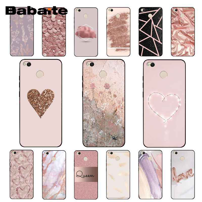 Babaite Gold Rose Glitter Pink Love Herat Phone Case for Xiaomi Note3 mi5 6 A1 A2 Lite Mi9 9SE mi8lite 8explorer