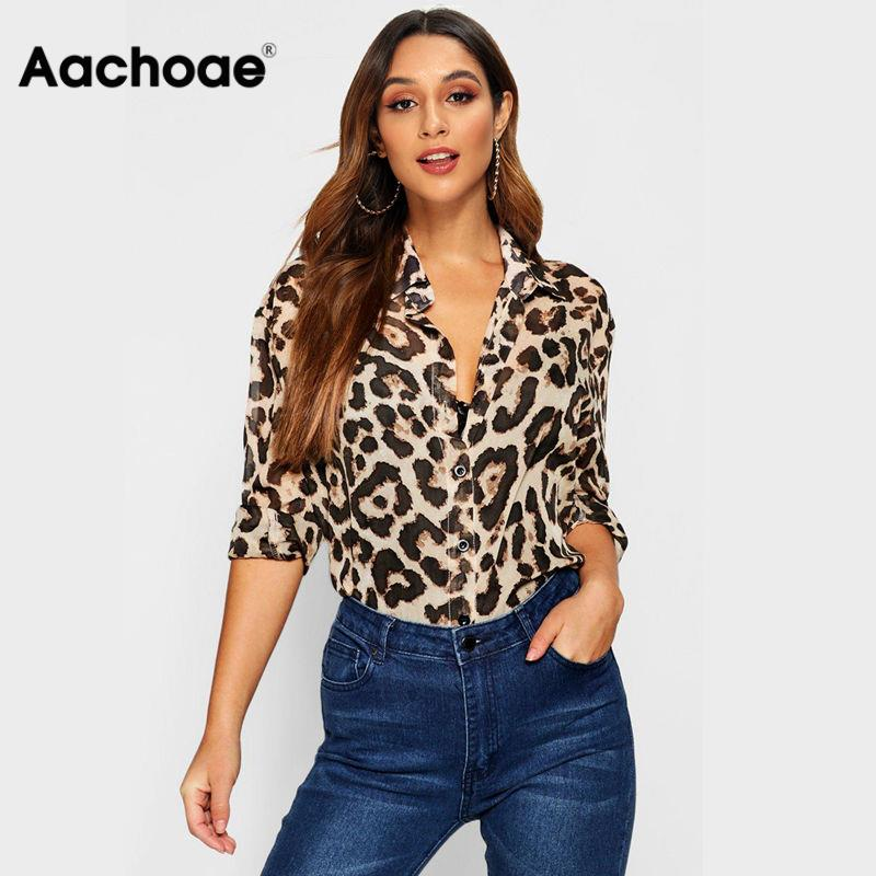 Aachoae Women Blouses Sexy Long Sleeve Autumn Leopard Blouse Turn Down Collar Ladies Office Shirt Casual Loose Tops Chemisier
