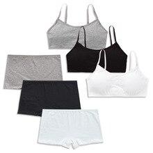 Bra Sports-Bra Teenage Panty-Sets Padded-Training-Bra Puberty-Girls Kids Cotton And 3sets/Lot