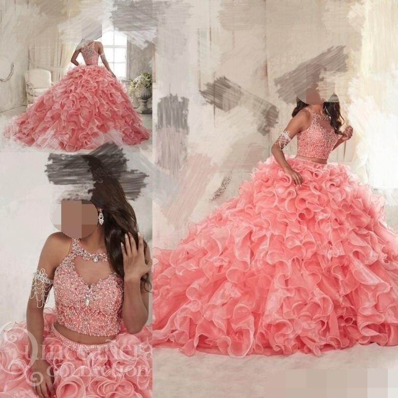 2019 Ruffles Two Pieces Coral Quinceanera Dresses Sweet 16 Organza Plus Masquerade Sheer Prom Occasion Dress Vestidos De 15 Anos