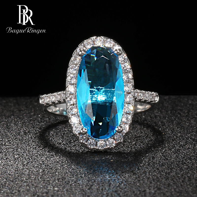 Bague Ringen Classic Silver 925 Jewelry Oval Gemstones Ring For Women Large Aquamarine AAA Zircon Female Engagement Ring Gift