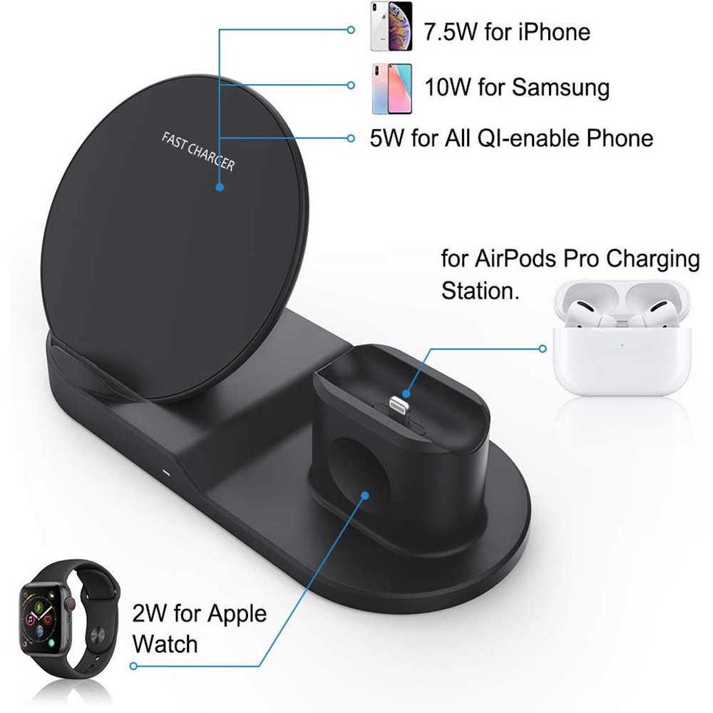 ワイヤレスチャージャーチー 10 ワット 3 で 1 ワイヤレス充電スタンドドックステーション Airpods Pro の Iphone 11 プロマックス XR 8 × アップル腕時計 5 4 3 2