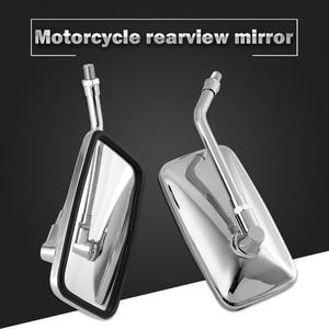 Image 2 - DERI 1 Đa Năng Hình Chữ Nhật Nhôm Moto Rcycle Gương Chiếu Hậu 10Mm Chrome Retrovisor De Moto Gương Moto Cho Xe Honda