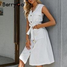 Causal Dress Button Berrygo Knee-Length Retro White Sleeveless V-Neck Summer Belt Lace-Up