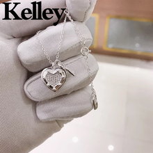 Kelley high quality original Tiff 925 sterling silver heart necklace key lock shape brand design ladies fashion luxury jewelry
