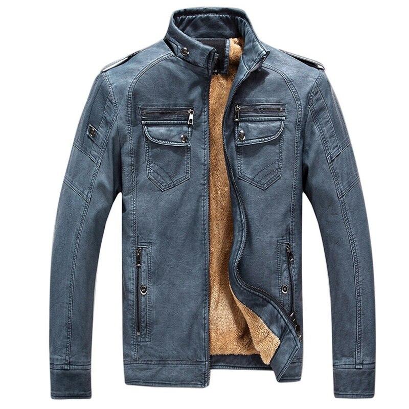 Hae6180e3e90a4704a6e2c97d1552da57l Luxury 2019 Leather Jackets Men Autumn Fleece Zipper Chaqueta Cuero Hombre Pockets Moto Jaqueta Masculino Couro Slim Warm Coat