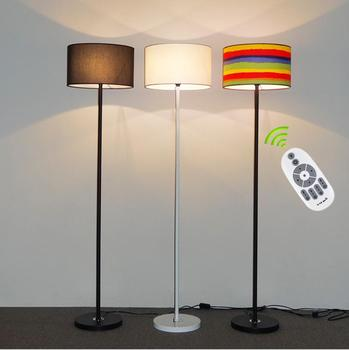 Fabric living room floor lamp simple modern bedroom study bedside lamp Hotel creative remote control LED vertical table lamp