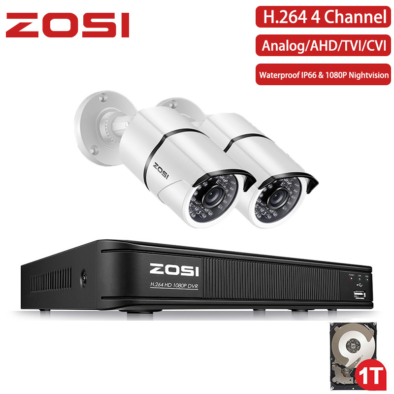 ZOSI Electronic 1080P 4 Channel System DVR Kit Nightvision Bullet 1080P CCTV Waterproof Video Camera Remote View 1TB HDD Disk