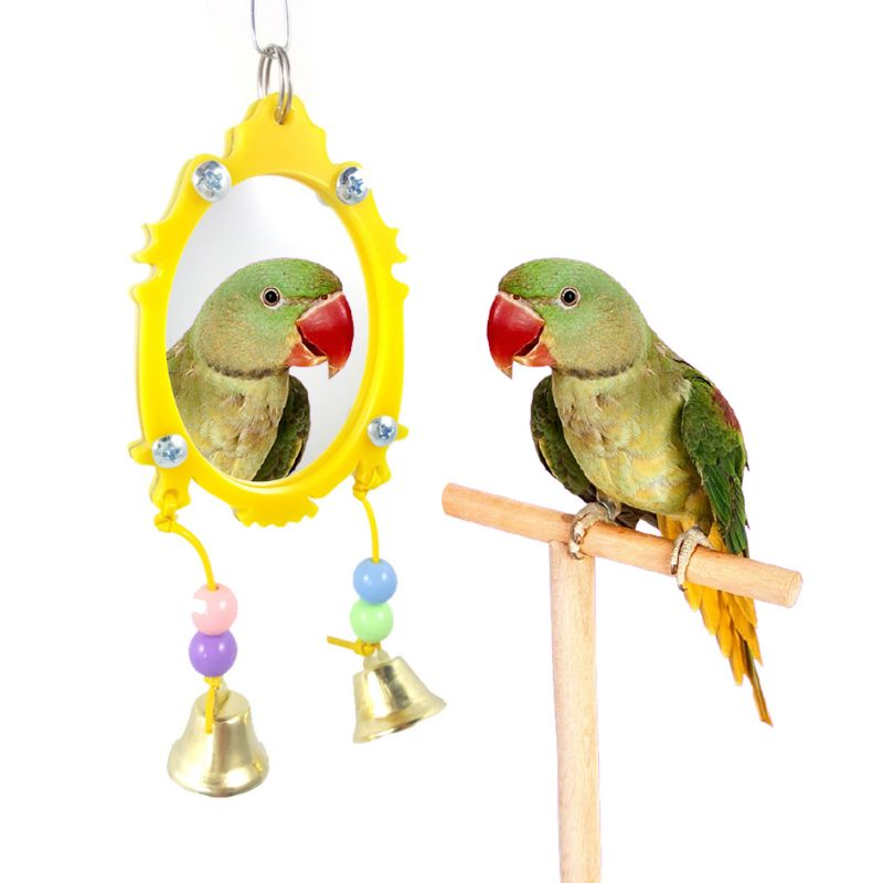 Bird Parrot Mirror Toy with 2 Movable Hanging Bells Colorful Pet Cage Decoration Toys or Parakeets Canary Bird Supplies C42