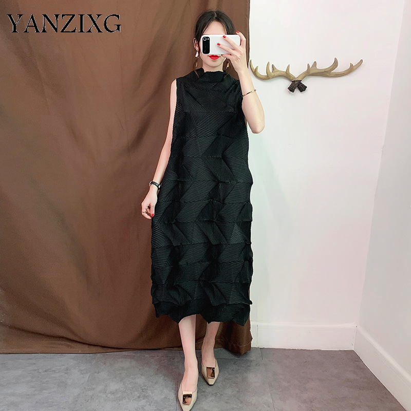 Loose Pluz Size Sleeveless Women Dress Solid Color Wild Casual Ladies Dress Summer New 2019 Fashion Women Clothing Z853