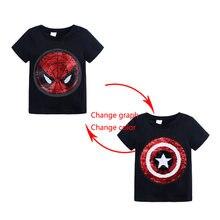 Verão roupas de bebê meninas meninos t-shirts 1 pçs mágica lantejoulas mudança gráfico reversível algodão casual moda t camisa crianças topos t