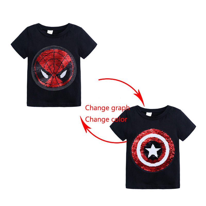 Summer Baby Clothing Girls Boys T-Shirts 1pcs Magic Sequin Change Graph Reversible Cotton Casual Fashion T Shirt Kids Tops Tee