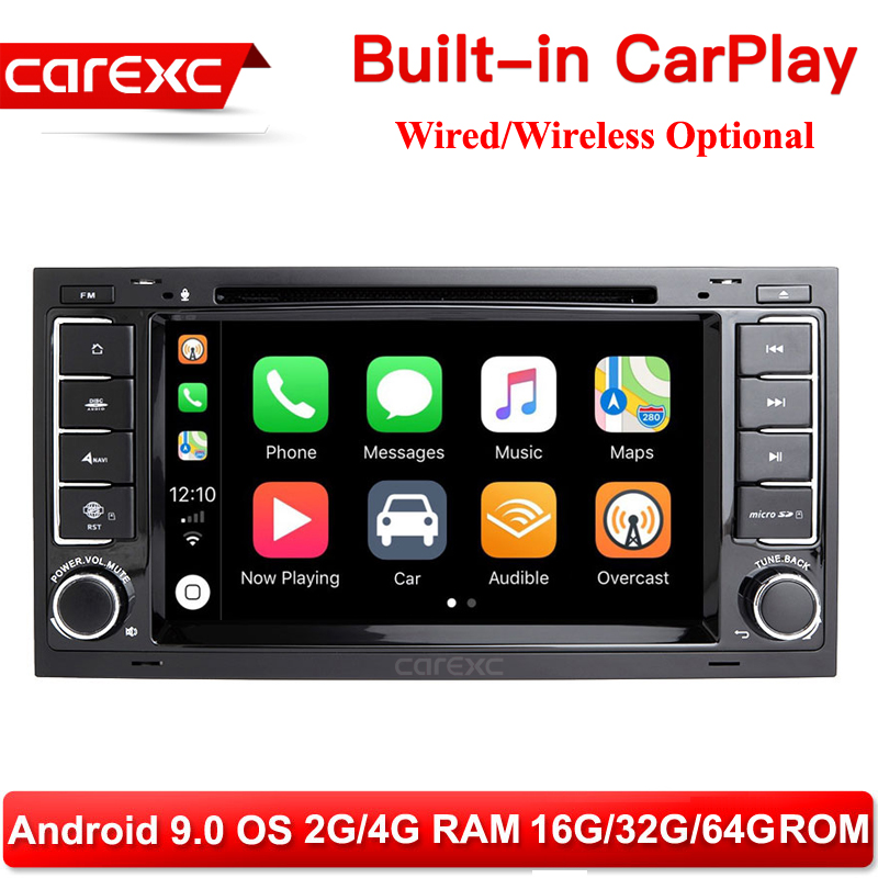 CarExc 2-DIN Android 9.0 Auto Radio For <font><b>VW</b></font> Volkswagen Touareg <font><b>T5</b></font> Transporter <font><b>Multivan</b></font> Built-in CarPlay With DVD GPS Navigation Car Muiltmedia Player System image