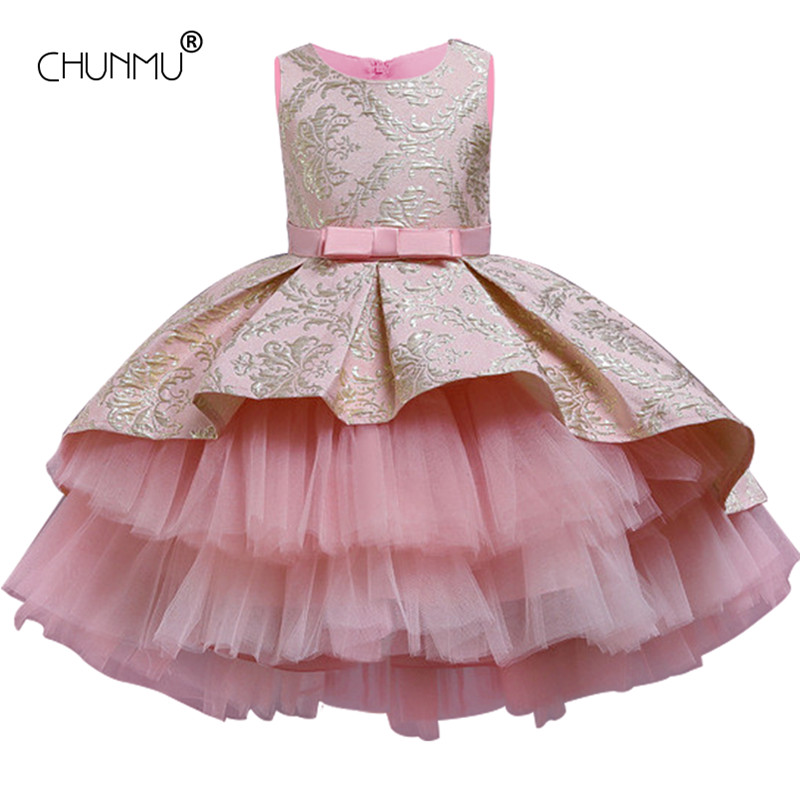 Dress Clothing Tutu Embroidery Flower Elegant-Wear Party Girls Vintage Kids Ceremony