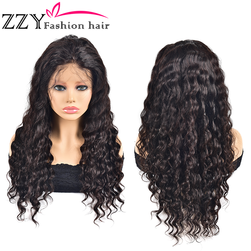 ZZY 13x4 Loose Deep Wave Wigs Lace Front Human Hair 150% Density Pre Plucked With Baby Hair Non-Remy Brazilian Lace Frontal Wig