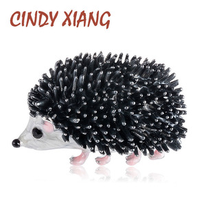 CINDY XIANG Black Enamel Hedgehog Brooches Porcupine Pin Kids Coat Bag Badges Fashion Jewelry Cute Animal Brooch Unisex Broches(China)