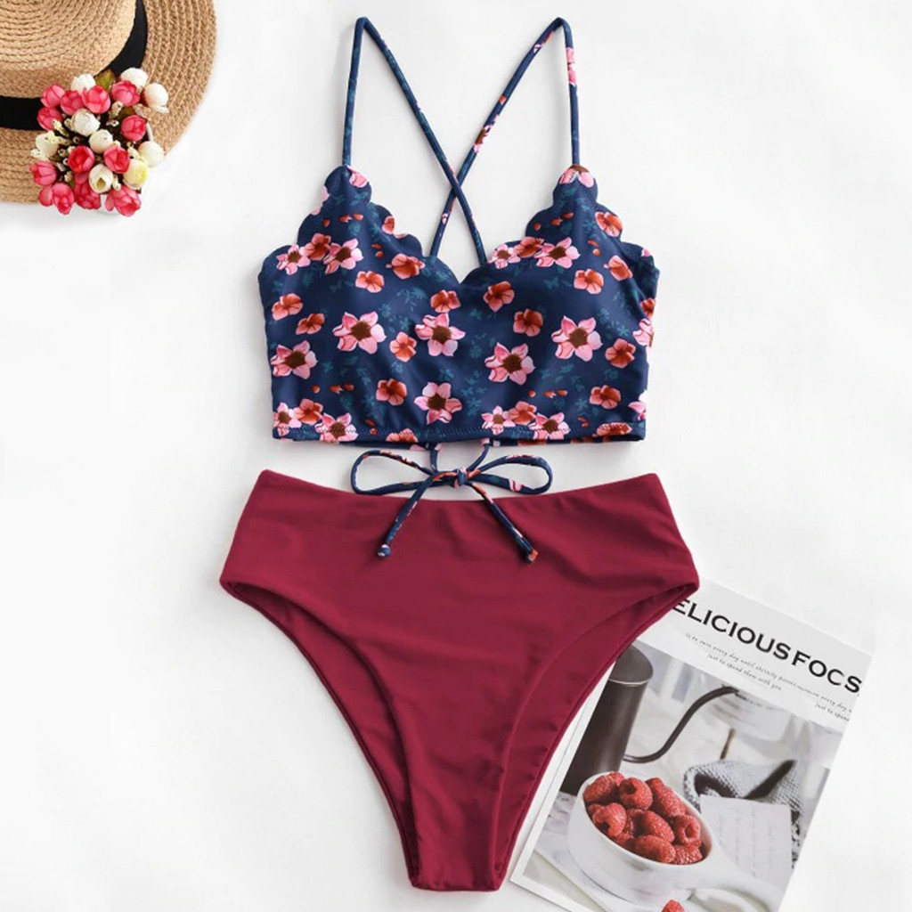 Swimsuit High Waist Bikini Women Sexy Floral Scalloped Crisscross Tankini Swimsuit Swimsuit Beachwear Swimsuit Female