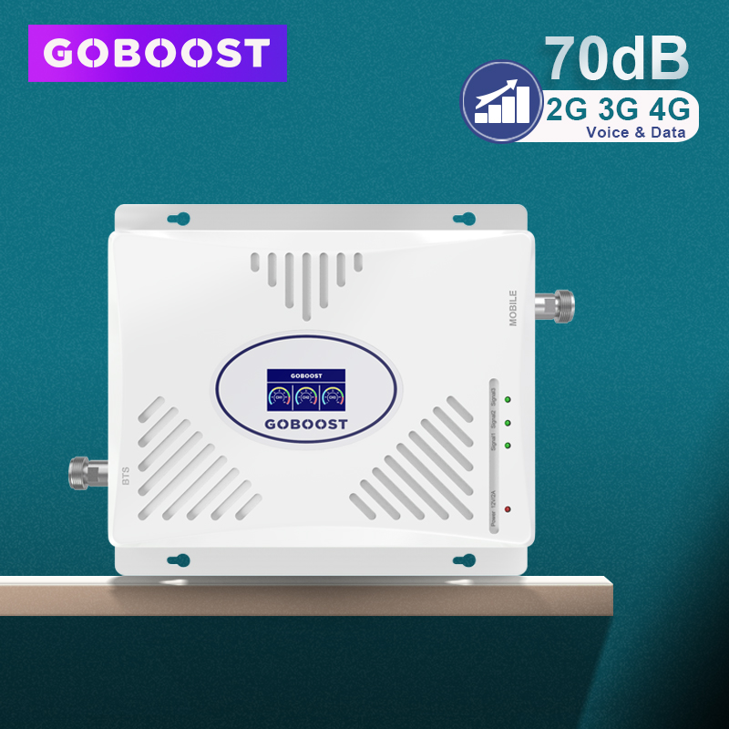 GSM Repeater 2G 3G 4G Signal Booster 900 1800 2100 Tri Band LTE 2600 4G Cell Phone Amplifier 3G 70dB GSM Cellular Amplifier 4G