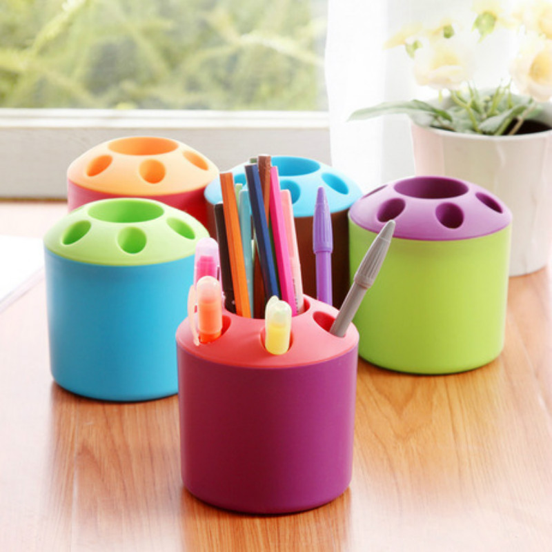 6 Hole Pen Holders Stand Students Office Supplies Desk Storage Organizer Accessories Bathroom Home Bedroom Organize Tools