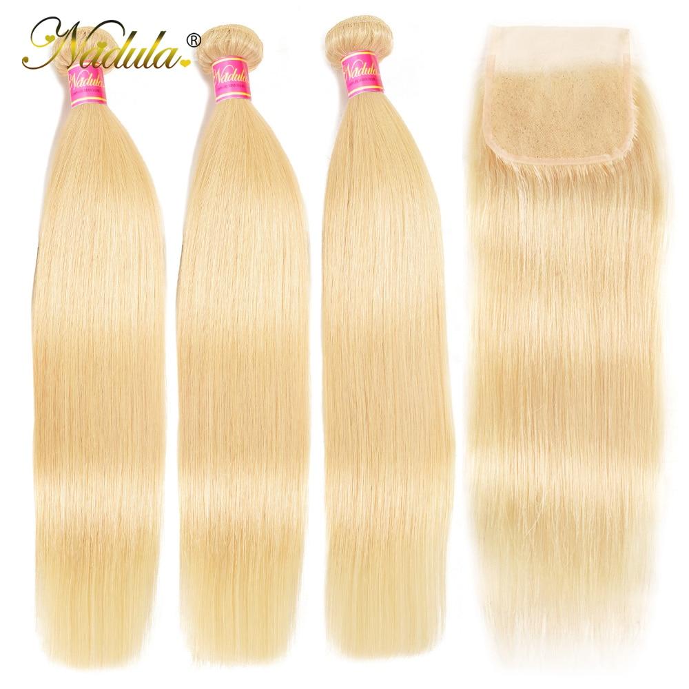 Nadula Hair Weaves 3 Bundles Straight Bundles With Lace Closure Brazilian Hair Extensions 100% Human Hair Bundles With Closure