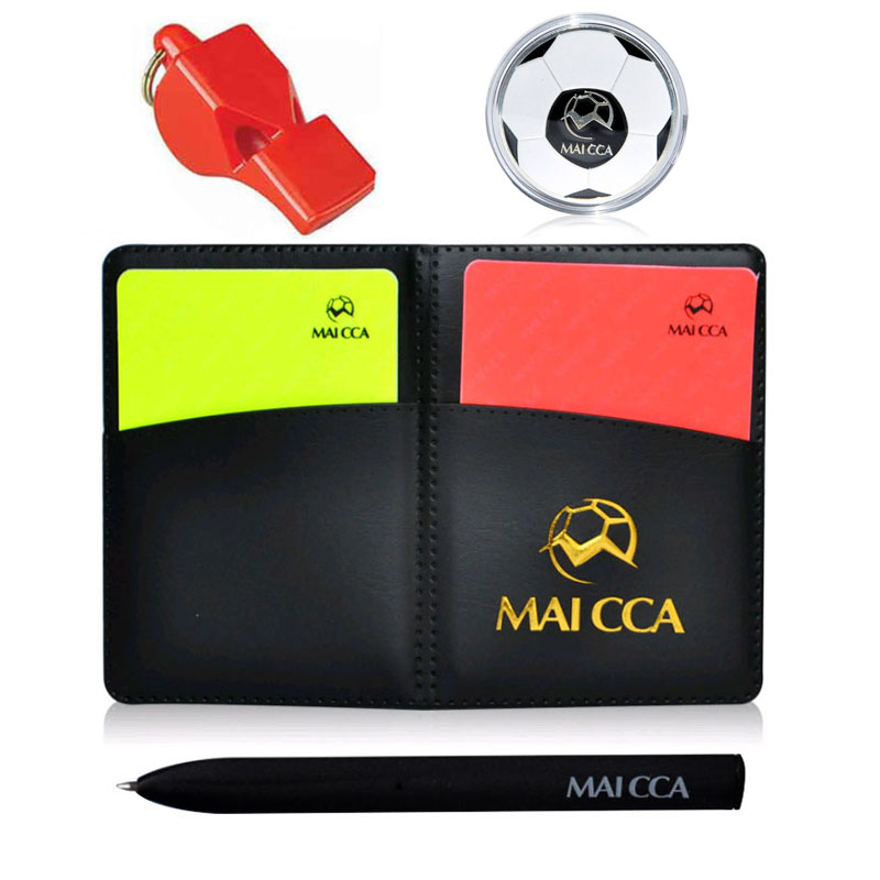 Football Whistle Soccer Referee Cards Coin Notebook Wallet Set Training Fair Play Professional Sports Equipment Linesman Gear