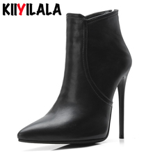 Kiiyilala Zipper Pointed Toe Women Boots Heels 12 cm Woman Shoes Autumn Winter Thin Heel Ladie Ankle Boots For Women Size 34-48 msfair pointed toe thin heels women boots genuine leather zipper ankle boots women shoes winter elegant ankle boots shoes woman