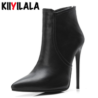 Kiiyilala Zipper Pointed Toe Women Boots Heels 12 cm Woman Shoes Autumn Winter Thin Heel Ladie Ankle Boots For Women Size 34 48