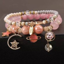 Misheng New Natural Stone Womens Bracelet Crystal Pink Blue Original Moon Star Accessories Girlfriend Gift Jewelry