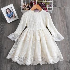 Spring Autumn Girls White Dress Princess Party Lace Dress for Kids Fashion Children Dress Clothes