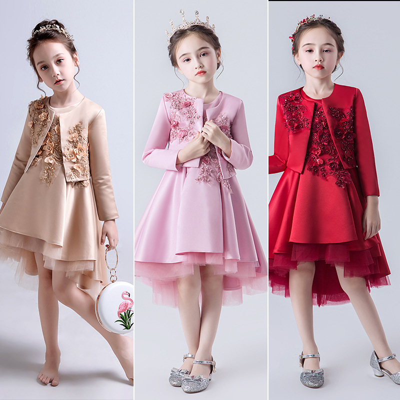 Girls Wedding Dress Little Girl Birthday Princess Dress Flower Boys/Flower Girls Evening Gown Children Catwalks Small Host Piano