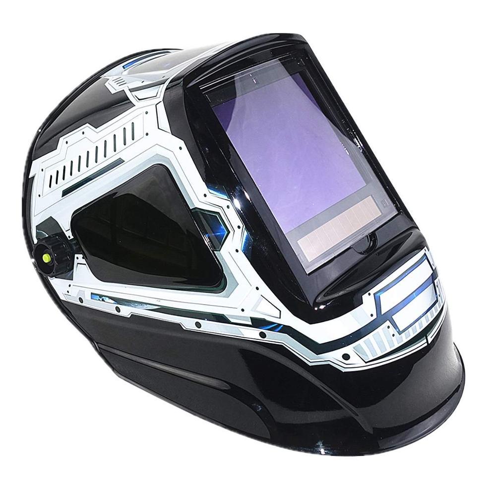 Máscara de soldadura de escurecimento automático 3 vista windows tamanho 100x93mm (3.94x3.66 ) din 4 13 óptico 1111 5 sensores ce capacete de soldagem - 3