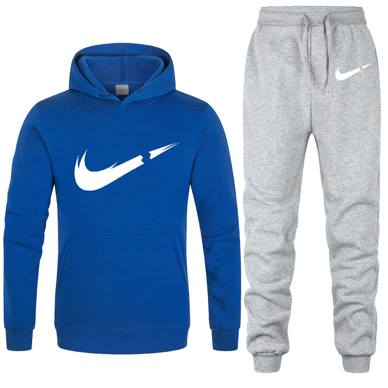 New Brand Men's Sportswear Sets Autumn Winter Hooded Thick Male Casual Tracksuit Men 2 Piece Sweatshirt + 2019 Sweatpants Set