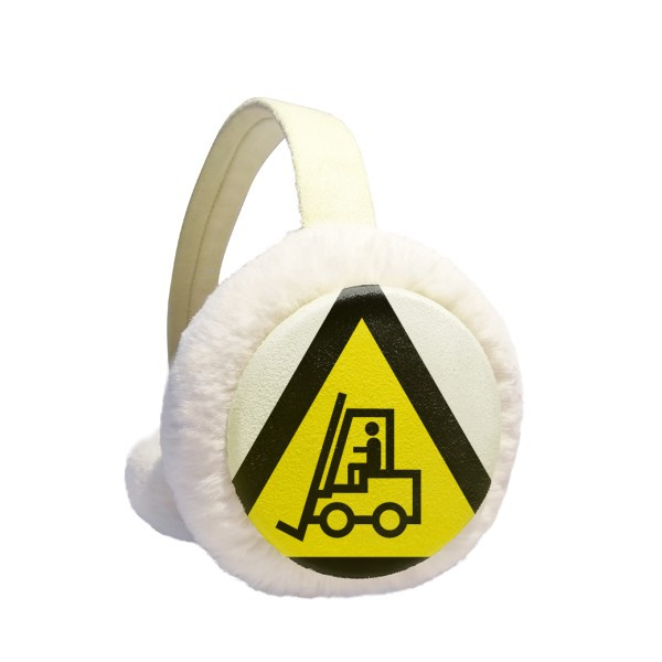 Warning Symbol Yellow Black Forklifts Triangle Winter Earmuffs Ear Warmers Faux Fur Foldable Plush Outdoor Gift