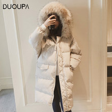 DUOUPA  2019 New Fashion Cotton Padded Bread Clothes Coat Large Fur Collar Loose Long Down Jacket Korean Casual