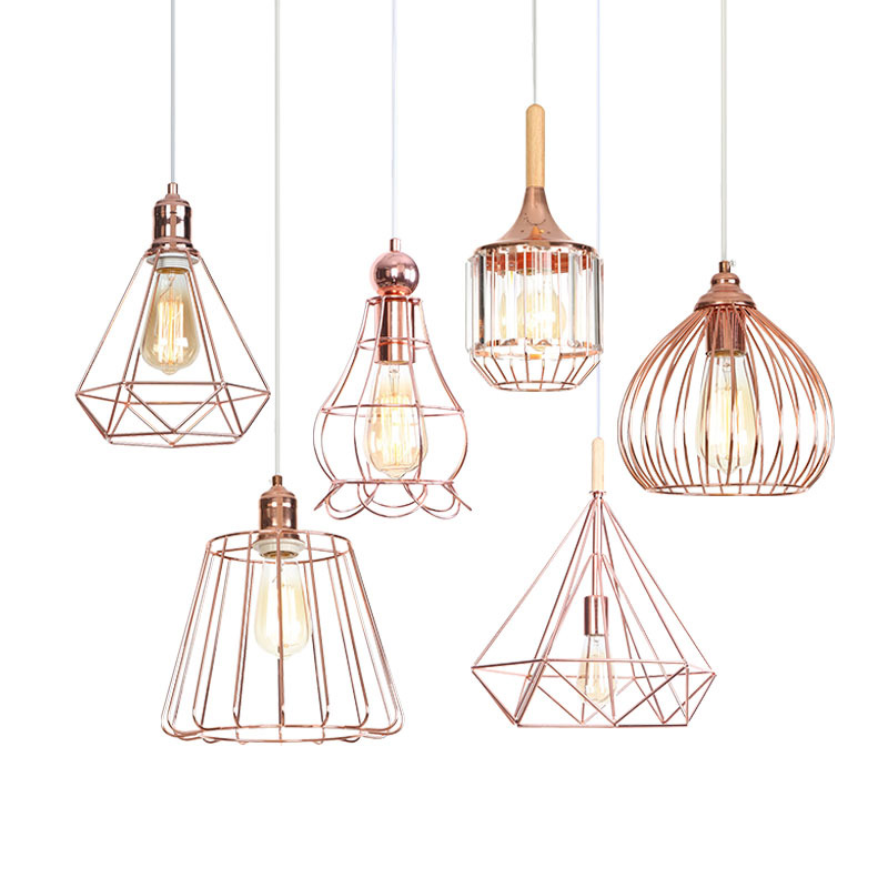 Geometric Wood Rope Lamp Bird Cage Nest Decoration Iron Rose Golden Bedroom Indoor Hanging Lampshape Pendant Lights Droplight