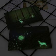 New 30pcs Vintage Luminous Postcard Glow In The Dark Forest Streamer Animal Greeting Post Card Novelty Xmas Greeting Cards Gift