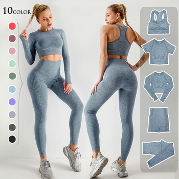 2/3/5PCS Nahtlose Frauen Yoga Set Workout Sportswear Gym Kleidung Fitness Langarm Crop Top Hohe taille Leggings Sport Anzüge Yoga-Sets    -