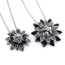 Black Dahlia Necklace Avengers Spiderman Vintage Flower Crystal Pendant Badge for Women Men Choker Pins Jewelry