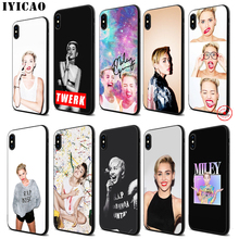 IYICAO Miley Cyrus Soft Black Silicone Case for iPhone 11 Pro Xr Xs Max X or 10 8 7 6 6S Plus 5 5S SE