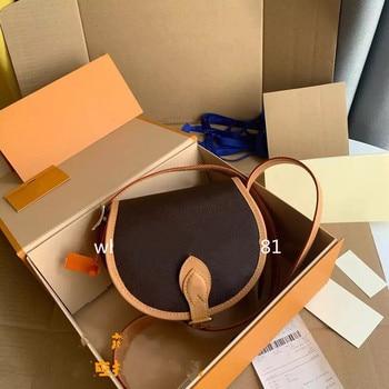 New print face leather one shoulder saddle bag  1