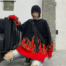 Sweater Knit Pullovers Flame Harajuku Women Top-Spring Loose Fashion Plus-Size Long-Outfit