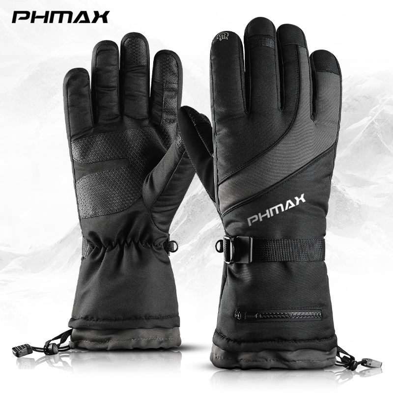 PHMAX Winter Ski Gloves Men Women Thermal Fleece Snowboard Gloves Touchscreen Waterproof Warm Gloves For Skiing Skating Riding