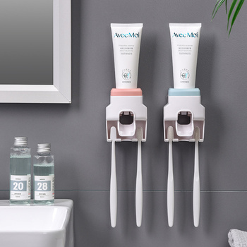 Creative Wall Mount Automatic Toothpaste Dispenser Bathroom Accessories Waterproof Lazy Toothpaste Squeezer Toothbrush Holder