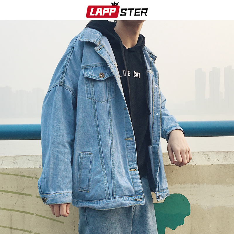 LAPPSTER Men Oversized Korean Denim Jacket 2020 Mens Harajuku Japanese Streetwear Jeans Jacket Male Hip Hop Casual Windbreaker