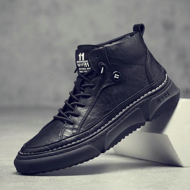Spring New Men Fashion high top Sneakers Men Leather Shoes Men Zapatos Hombre Men Casual Shoes