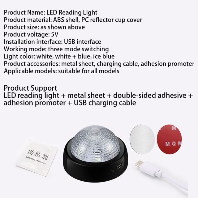 USB Charging Magnetic Roof Ceiling Lamp Auto Rechargeable Night Light For Home Truck Car Interior Reading Lamp