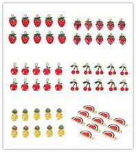 10 Pçs/set Esmalte Cereja Fruta Melancia Morango Encantos Liga Pingente DIY Artesanato Jóias Fazendo Descobertas Jóias Acessórios