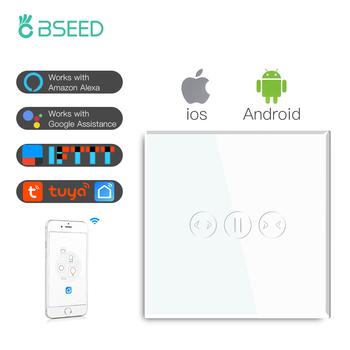 BSEED WIFI ściana osłonowa przełączniki Smart Touch przełączniki niewidomych szkło Google Alexa App czujnik przełączniki migawki z neutralnym przewodem tanie i dobre opinie CN (pochodzenie) ROHS Need Neutral Wire PRZEŁĄCZNIKI Sterowanie aplikacją