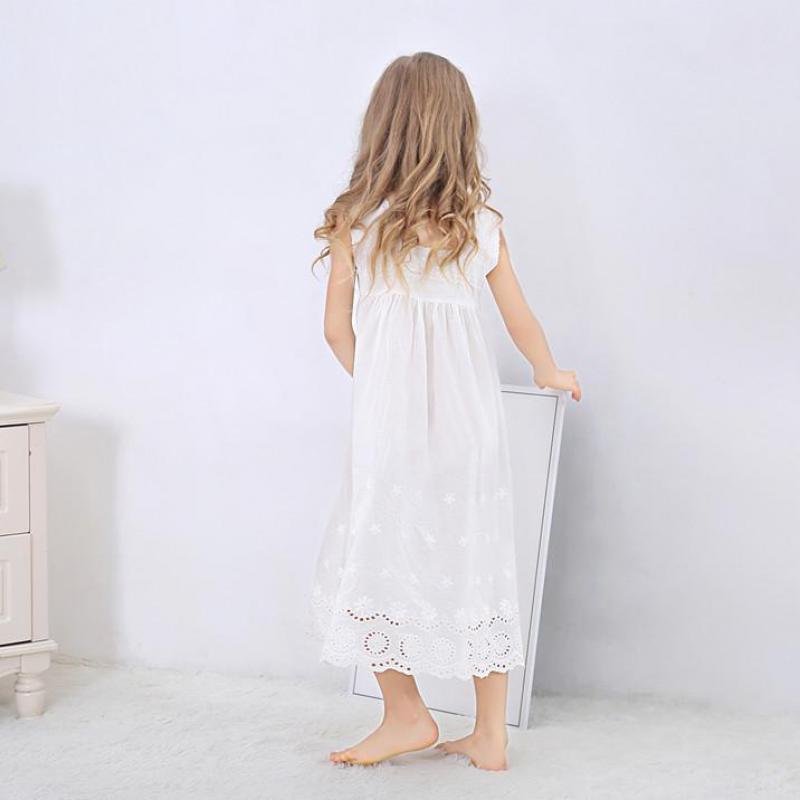 Toddle Girl White Nightdress Princess Dress Children Pajamas Nightgowns For Girls Kids Night Dress Girl Lace Sleeping Dress 4