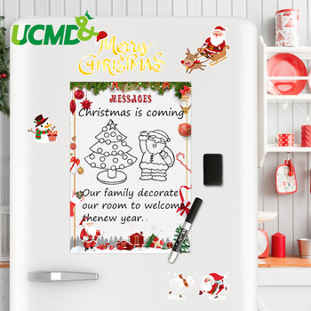A4 Flexible Christmas Message Sticker Board Fridge Magnets Magnetic Drawing Writing Remind Memo Record Boards Whiteboard Toys 4pcs lot flexible fridge magnets whiteboard kids reusable drawing writing message board note pad refrigerator magnetic sticker